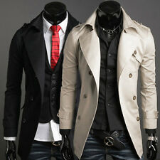 2015 Mens Trench Coat Winter Long Jackets Double Breasted Overcoat Outerwear S++