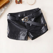 Women's Plus Size PU Leather Shorts Women's Loose Black Fashion Sexy Pants Black