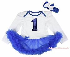 Royal Blue 1ST Birthday White Long Sleeve Bodysuit Pettiskirt Baby Dress NB-18M