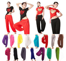 Women Aladdin Gypsy Dance Yoga Pants Trousers Baggy Jumpsuit Clothing Green Red