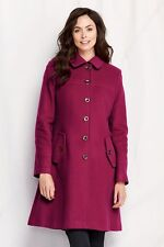 NWT Lands' End Womens Tall Luxe Wool Swing Car Coat Raspberry TALL