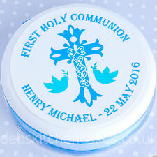 Holy Communion Cake Topper - Boys Blue Personalised First Holy Communion Topper