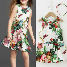 2015 NEW Kid Girl Princess Flower Butterfly Print Dress A-line Dresses +Headband