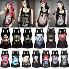Stretch Casual Tee Club Wear Womens Gothic Punk Print Rock Vest Tank Top T-shirt