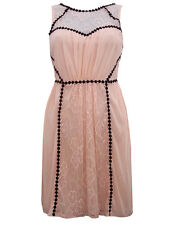 MISS SELFRIDGE NEW PEACH NUDE CHIFFON LACE VINTAGE STYLE MINI DRESS SIZE 6-18