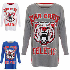 Womens Ladies Athletics Bear Creek Print Long Sleeve Baggy Oversized Tshirt Top