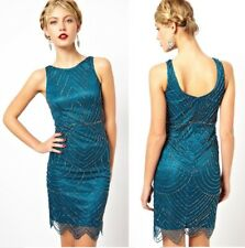 Frock & Frill Gatsby Style Art Deco Slinky Cocktail Formal Dress in Teal FF0164