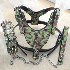 Camo Leather Studded&Spiked Dog Harness&Collar&Leash Set Pitbull Chest 26- 34""