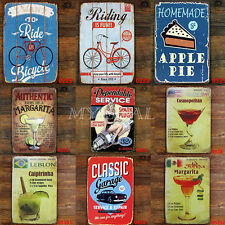 Drinks Cake Bicycle Vintage Metal Sign Tin Poster Tavern Bar Coffee Pub 20*30CM