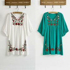 Vintage 70s Ethnic Floral Embroidered Peasant Hippie Mexican Blouse Dress Tops