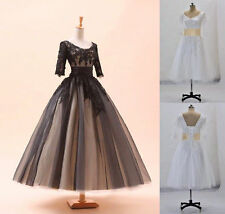 Tea Length White/Black Lace Wedding Dress Half Sleeves Ball Gown Bridal Dress