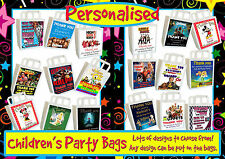 6 X PERSONALISED CHILDRENS 'CHARACTER' MIXED DESIGNS BIRTHDAY PARTY BAGS. (BAG4)