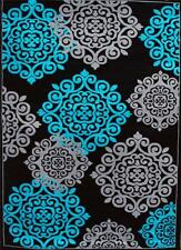 776 Turquoise Gray Black 5x7, 8x10 Area rugs Carpet Contemporary New modern