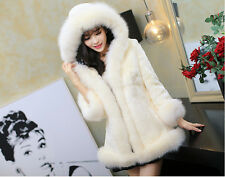Women's Fur Coat Fox Fur Collar Medium-long Hooded Fur FAUX FUR Coats