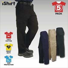 5X HEAVY 100% COTTON DRILL CARGO PANTS TROUSERS WORKWEAR