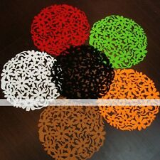 Round Laser Cut Flower Felt Placemats Kitchen Dinner Table Mats 32x32cm 1/4pc