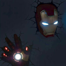 Marvel Avengers Iron man Mask Helmet + Hand 3D FX Deco LED Night Light