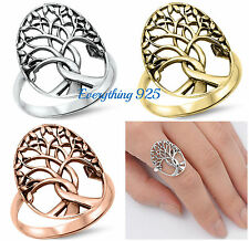 """.925 STERLING SILVER 7MM HIGH POLISH """"TREE OF LIFE"""" DESIGN BAND RING SIZES 4-13"""