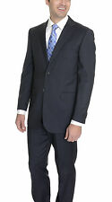 Classic Fit Super 140's Navy Blue Striped Two Button Wool Suit