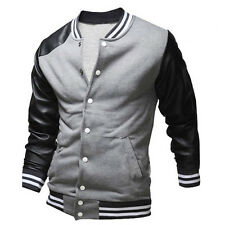 XS~L Mens Jackets Baseball Jacket Varsity Coats Pu Leather Sleeve Sport Young