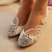 Lace Bridal shoes crystal Wedding shoes prom Flats low high heel pumps size 5-10