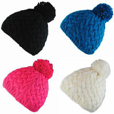 BNWT Vermont Black Pink Blue Cream Winter Wooly Roll-Up Beanie Bobble Hat