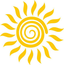 "LARGE 5.5"" or 8.5"" Spiral Sun Decal Vinyl Sunshine Sticker for car wall, window"