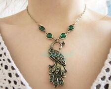 Retro Style Enamel Peacock Chain Necklace Charm Animal Pendant 19.30''