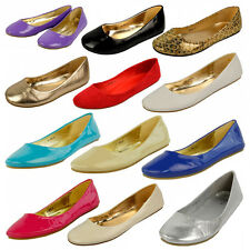 S305 - Ladies Flat Ballerinas Casual Slip On Ballet Pumps Shoes - UK 3 - 8