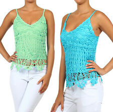 Beaded Summer Crochet Knit Tank Top w/ Lace Scallop Bottom Fashion Central