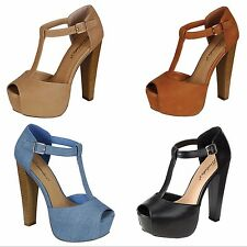 New Women T-Strap Peep Toe Buckle Ankle Strap Platform Chunky Thick High Heels