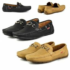 S339 Mens Casual Square Toe Buckle Leather Lined Loafers Boat Shoes - UK 6 - 11