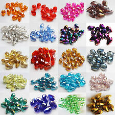 New 20pcs Faceted Teardrop glass crystal Charm Finding Loose Spacer beads 8x12mm