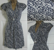 NEW EX FRENCH CONNECTION SUMMER JERSEY TEA TUNIC DRESS ABSTRACT NAVY WHITE 4-14