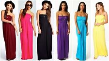 WOMEN LADIES BOOBTUBE BANDEAU ELASTICATED SUMMER CASUAL MAXI DRESS PLUS SIZE8-22