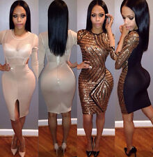Sexy Woman Stretch Longsleeve Bodycon Slim Evening Party Bandage Party Dress