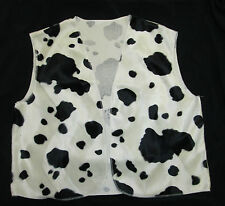 Black & White Cow Print Cowboy Cowgirl Waistcoat Woody Fancy Dress S M L Adult