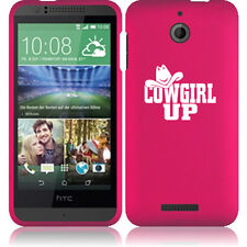 For HTC Desire 510 Rubber Hard Snap On 2 Piece Case Cover Cowgirl Up with Hat