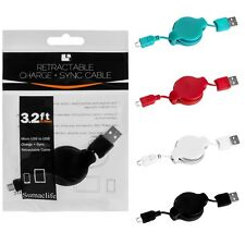 Colorful 3.2ft Retractable Micro USB Charging Sync Data Cable Cord