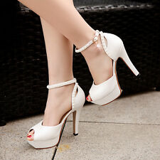 Womens Platform Pumps Ankle Strappy Stilettos High Heel Shoes Peep Toes Sandals