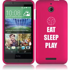 For HTC Desire 510 Rubber Hard Snap On 2 Piece Case Cover Eat Sleep Volleyball