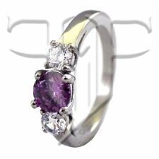 February Birthstone Ring | Stainless Steel CZ Amethyst February Birthstone Ring