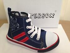 New Boys Chatterbox Navy Canvas Lace Up Hi Top Trainers Size 4 5 6 7 8 9 10 12