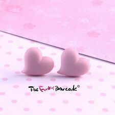 FUNKY PASTEL PINK LOVE HEART STUD EARRINGS CUTE SWEET QUIRKY NOVELTY PARTY GIFT
