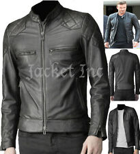 MENS David Beckham BLACK REAL LEATHER JACKET VINTAGE SLIM FIT GENUINE NEW XS-3XL