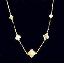 Gorgeous Prong Settings 5 Motifs Mother Of Pearl Four Leaf Clover Necklace + Box