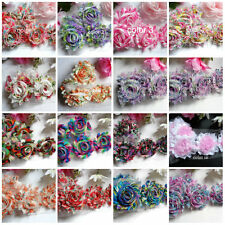"""2.5"""" print chic shabby chiffon flower trim select color and length"""