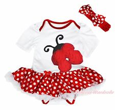 Xmas Beetle Ladybug Ladybird White Bodysuit Girls Minnie Baby Dress Skirt NB-18M