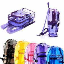 Glitter Clear Transparent PVC School Security Backpack Shoulder Travel BooK Bags