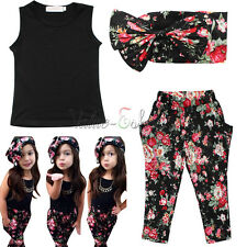 3pcs Toddler Kids Girls Clothes Headband+T-shirt+Floral Pants Set Summer Outfits